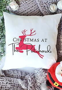 Family Christmas Personalised Reindeer Cushion