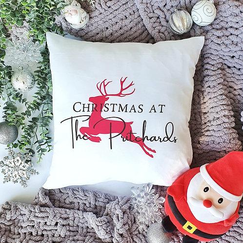 Family Christmas Personalised Reindeer Cushion