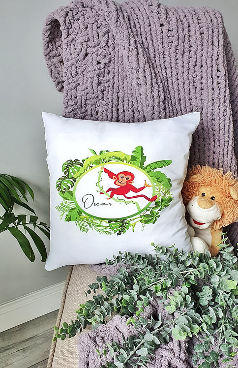 Personalised Nursery/Child Cushion Monkey Jungle Theme