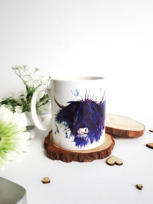 Splatter Highland Cow Bone China Mug
