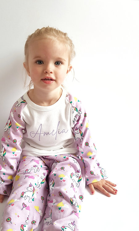 Personalised Fox, Unicorn or Spring Bunny Pyjama Sets