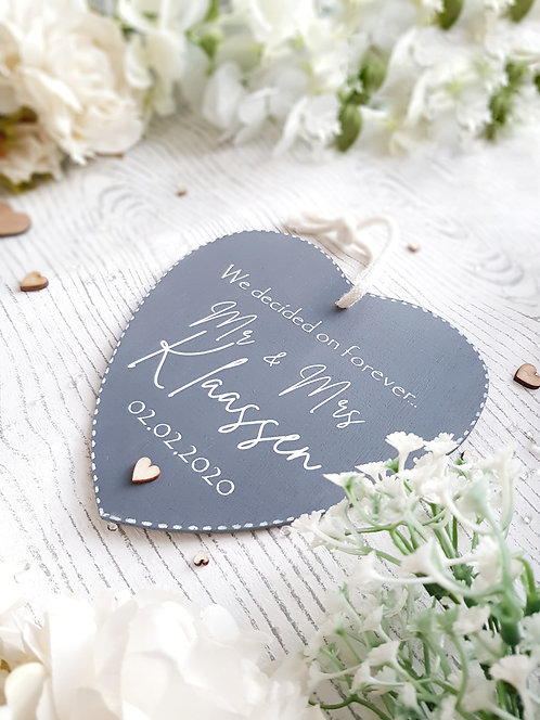 Mr and Mrs Wedding Heart Wooden Sign