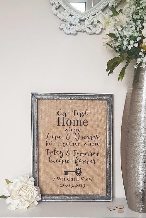 Love & Dreams Home Canvas Hessian Frame