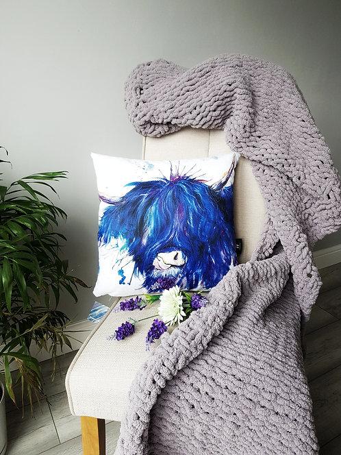Splatter Blue Highland Cow Cushion