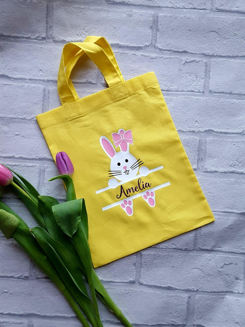 Personalised small easter tote bag ideal as party bags special gift bags for tiny treats and treasures or even as a practical lunch carrier here they are as a cute personalised easter negle Gallery
