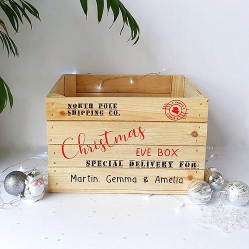 Personalised Wooden Christmas Eve Crate, Christmas Eve Box, Xmas Sack