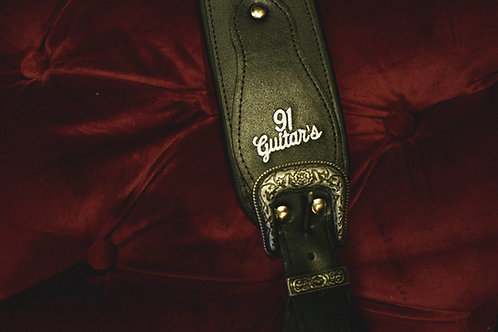 Correia Preta para violão, guitarra ou baixo, 100% em couro - 91 Guitar's