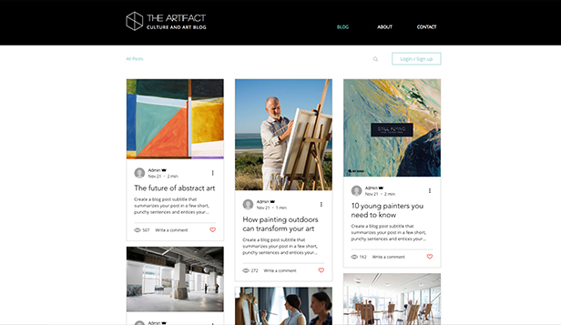 Kunst en cultuur website templates – Blog over kunst en cultuur