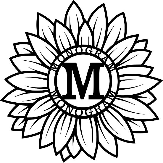 Custom Sunflower Monogram with Text