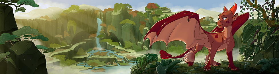 the female dragon Acorn looks over her beautiful valley