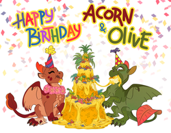 Happy 5th-birthday to Acorn and Olive!