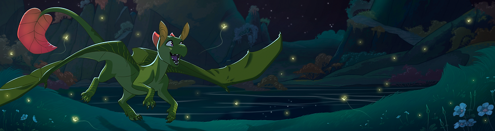 the female dragon Olive chases wild fireflies in te moonlit night