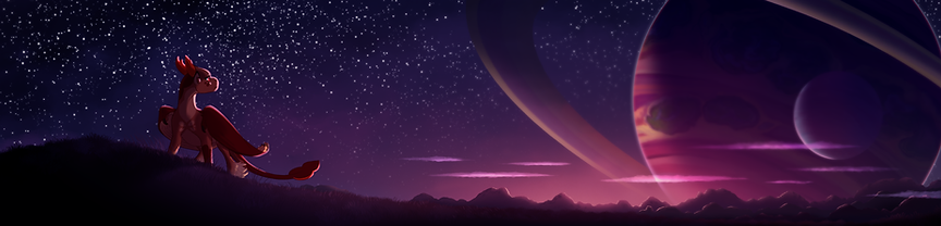the dragon Acorn looking back at the purple horizon with the giant neighbour planet in the nightsky
