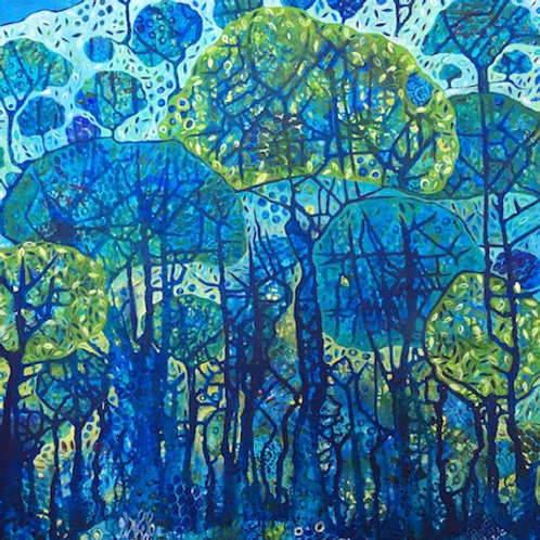 Whispering Trees - Original vertical acrylic Painting