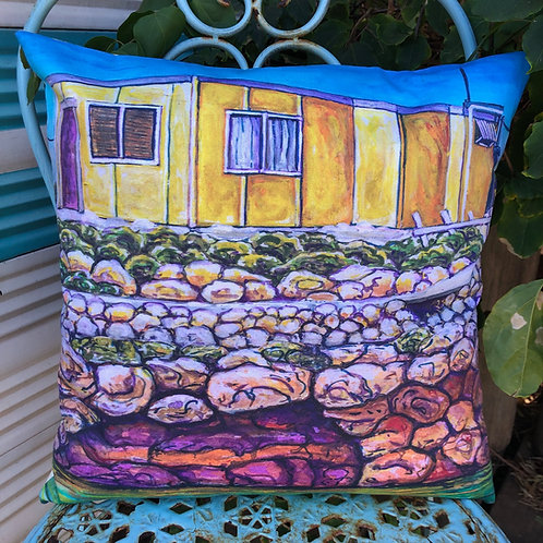 Yellow shack - Big Rat Island - Abrolhos Islands - cushion cover