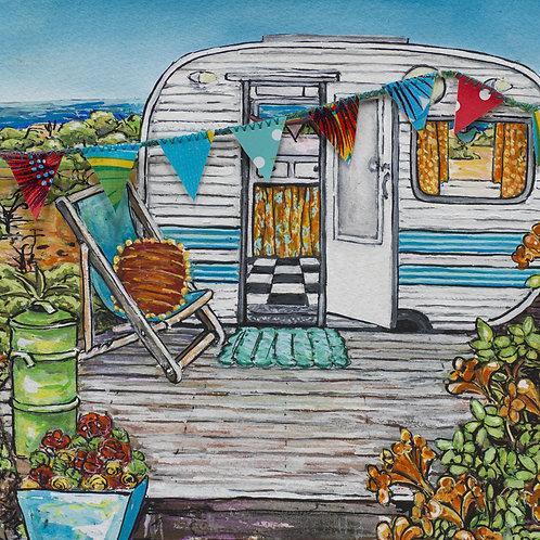 Retro Caravan - Sunset beach - Rectangle fine art print