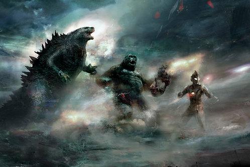 Godzilla, King Kong, and Ultraman (Expanded) 36 x 24