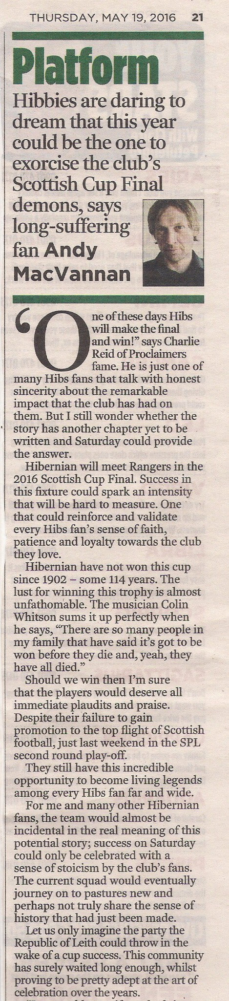 Andy MacVannan Edinburgh Evening News