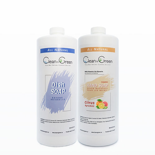 CleanNGreen Soap Bundle - 100% Natural (Hand & Dish Soap 960 ml Refill)