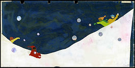 Image is a dark blue sky with a snowy hill. Two children, one in red, and one in green are throwing snowballs.