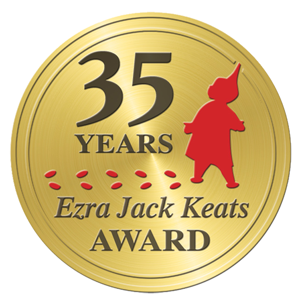 Gold circle with the net 35 years, Ezra Jack Keats Award. Silhouette of boy in red with red footprints.