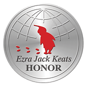Silver seal with a red silhouette of a boy and his footsteps and the text Ezra Jack Keats Award