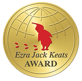 Gold seal with a red silhouette of a boy and his footsteps and the text Ezra Jack Keats Award