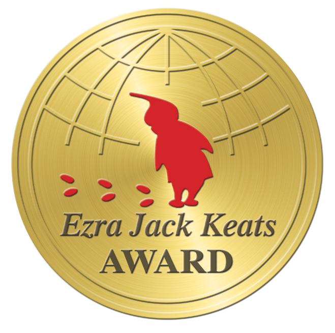 Image is a gold circle, a seal. In the middle is a child in all red looking down at three sets of footprints, also in red. Below the child is the text, Ezra Jack Keats Award