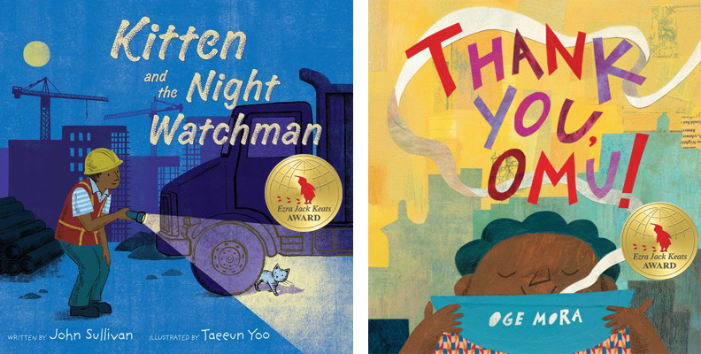 Image is of two books. The one on the left has a blue background, a nighttime city scape with buildings and the moon in the back. A man in an orange vest and a yellow hard hat is shining a flashlight on a kitten, who is hiding behind a truck tire. The text, Kitten and the Night Watchman is on the cover. The second image is a yellow background with a city scape in light blue. A young dark skinned girl with blue hair is sipping from a blue bowl. The book title, Thank You Omg! is on the cover.