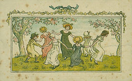 Image is a drawing of seven girls holding hands in a circle and depicting them dancing. They are dressed in dresses and hats in green, blue and yellow and pink. They are between two trees with pink blossoms.