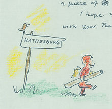 Image is a drawing of Curious George, a moneky, walked with a rolled up piece of paper walking past a sign that says Hattiesburg.