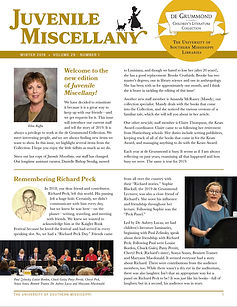 Photo of the cover of a newsletter with Juvenile Miscellany across the top. In the middle to bottom is text and photographs of people.
