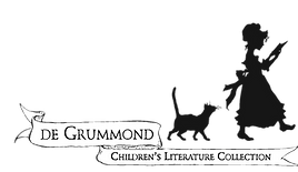 Black silhouette of a girl in a bonnet holding an open book, being followed by a cat. Underneath is a ribbon banner with the text De Grummond Children's Literature Collection
