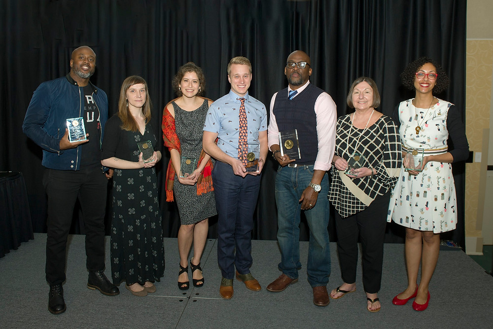 Ezra Jack Keats Book Award winners and honorees for 2018 on hand for the Keats Awards Luncheon at Southern Miss include, from left: Gordon James, E.B. Goodale, Bianca Diaz, Evan Turk, Derrick Barnes, Elaine Magliaro, and Jessixa Bagley (Southern Miss photo by Kelly Dunn).