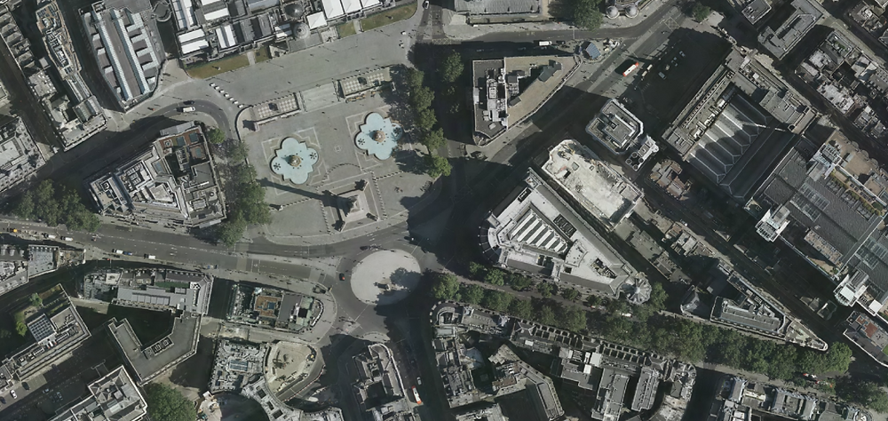 A very empty Trafalgar Square from London 2020 imagery