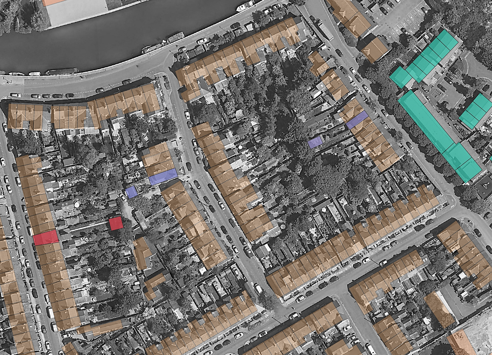 Residential sites showing outbuildings linked to residential buildings