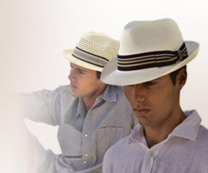 Fedoras for Him and for Her, a fun addition for a beach wedding