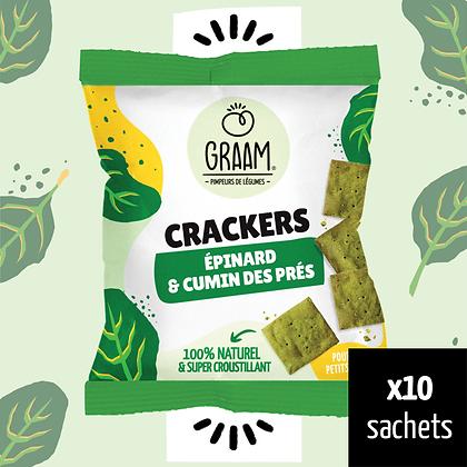 Crackers Épinard & Cumin des prés 10 x 30g