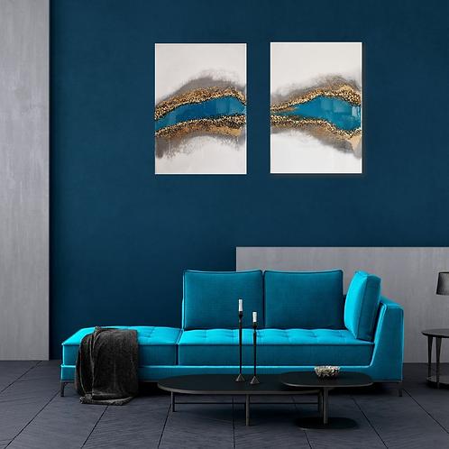 'Blue River' diptych wallart