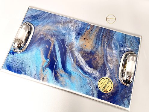 Resin decorated tray / blue silver 30 x 18cm