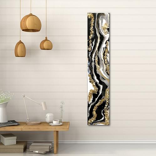 Black, white and gold resin art 104 x 21cm