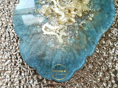 Resin coaster set of 2 light blue and gold