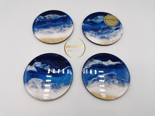 Resin coaster set of 4 Blue White