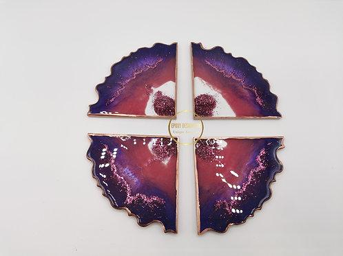Resin coaster set of 4 Purple copper