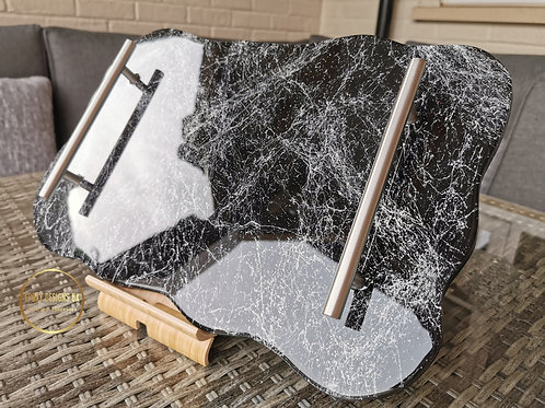 Nero Marquina style resin tray with glitter