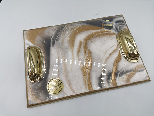 Resin decorated tray / golden 25 x 18cm