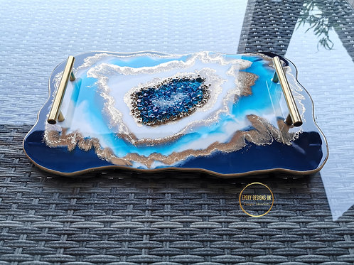Geode style resin tray