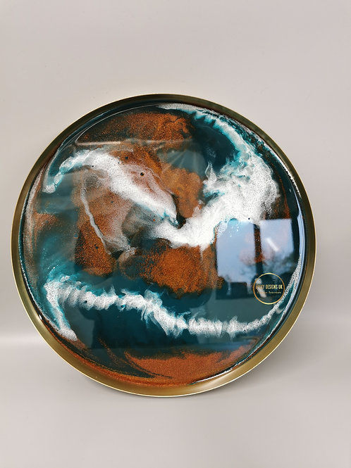 Resin tray copper, green, white, gold