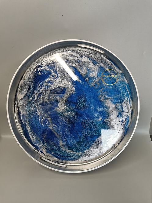 Resin decorated serving tray 33cm blue silver