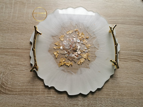 Round resin tray Pearl White and gold